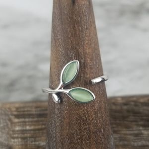 Sterling Silver Leaf and Branch Open Ring